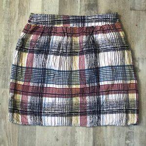 Anthropologie Mini Plaid Color Block Summer Skirt